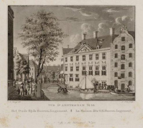 Oude-Zijds Heerenlogement, Beeldbank Amsterdam, plm 1824. Later kwam hier het BInnengasthuis.