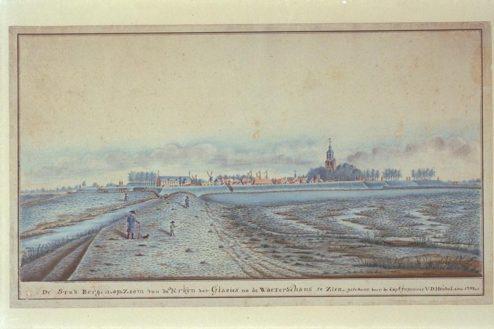 Anthony van den Heuvel, De Stad Bergen op Zoom van de Kruyn der Glacies na de Waterschans te zien, 1787, tekening, pen in zwart, penseel in kleur.