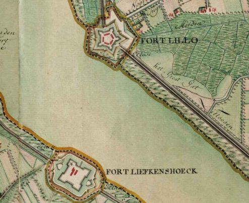 Fort Liefkenshoek en Lillo, aan de Schelde, kaart Ferraris, 1775.