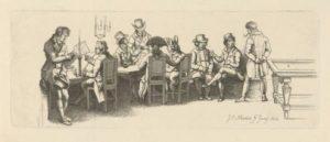 Mannen in een koffiehuis met een biljart, Jacob Ernst Marcus, 1814, coll. Rijksmuseum.